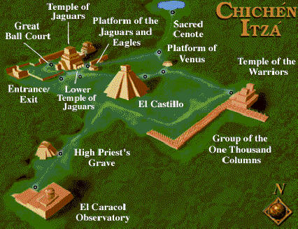 آثار المايا الموجودة في منطقة Chichen itza السياحية
