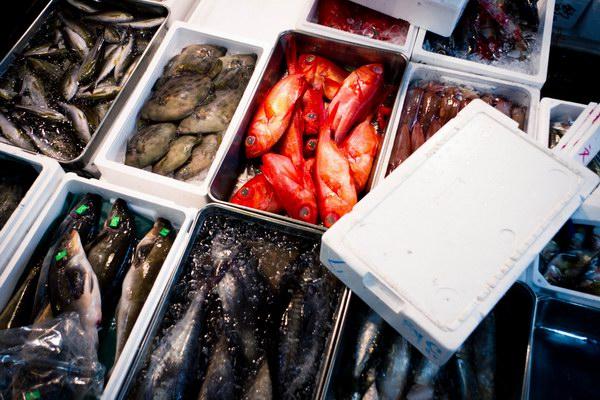 أنواع عديدة ومتنوعة من الأسماك تملأ سوق تسوكيجي
