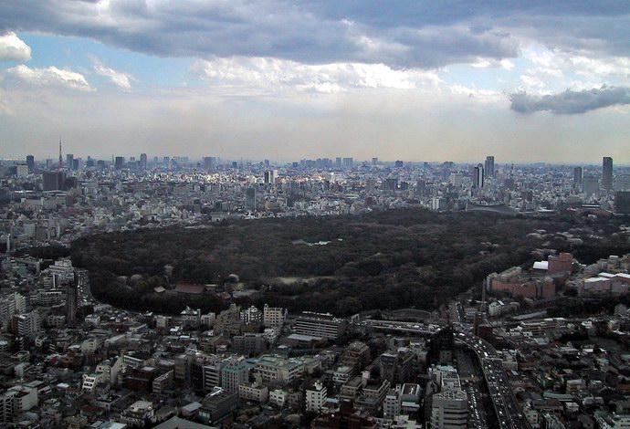 منظر عام للمنتزه بين معالم مدينة طوكيو
