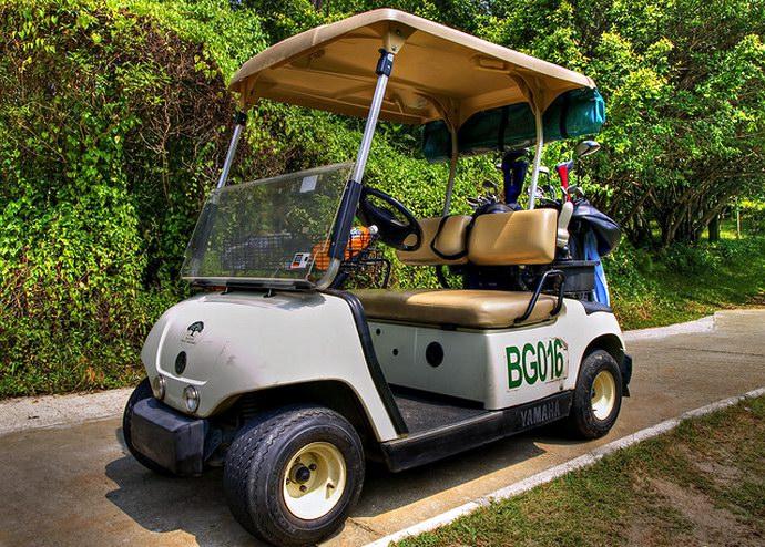 عربة الجولف التي تأخذك من خارج المزرعة حتى باب الفندق