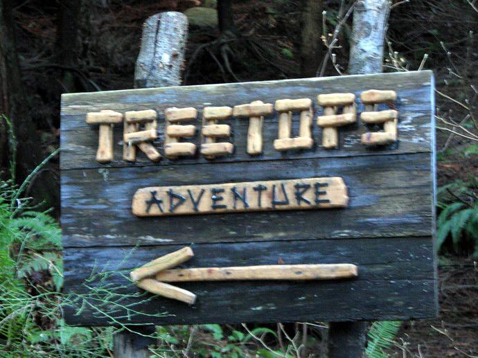 لافتة عن بداية مغامرة Treetops