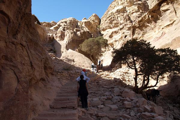 من الدرجات الحجرية المؤدية إلى الدير
