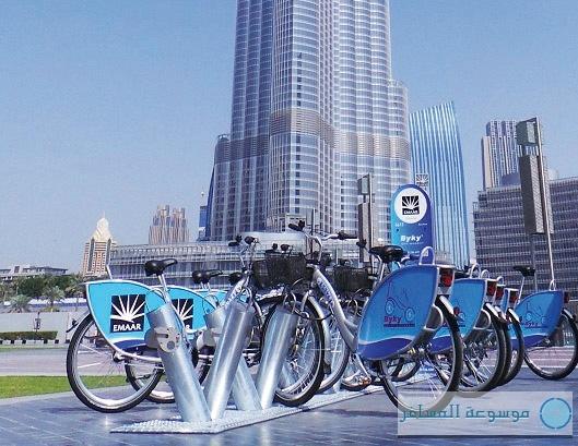الدراجات الهوائية في وسط مدينة دبي