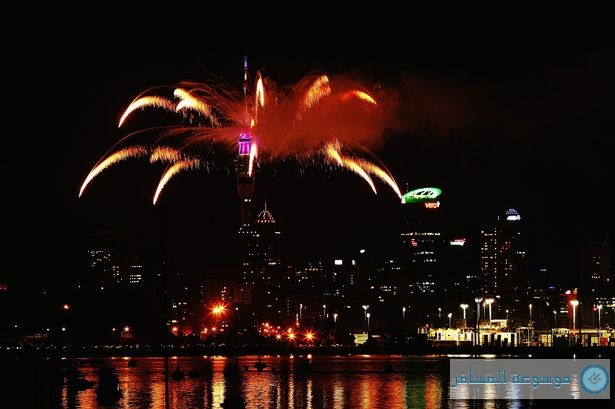 New Zealand, Auckland Tower Celebrates New Year 2014