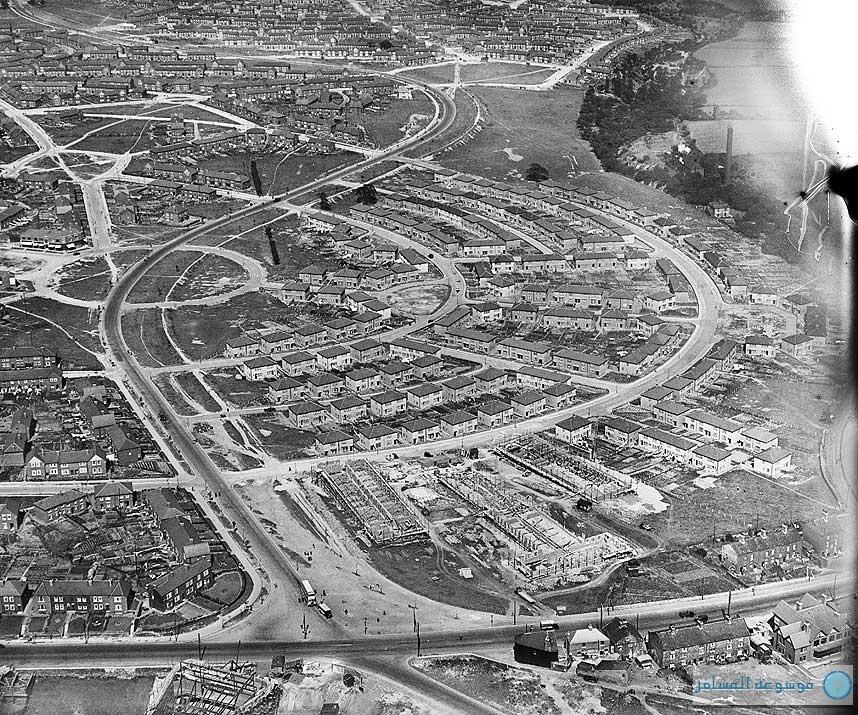 بريطانيا من فوق : تشييد طريق أمير ويلز، شيفيلد، جنوب يوركشاير، يوليو 1927