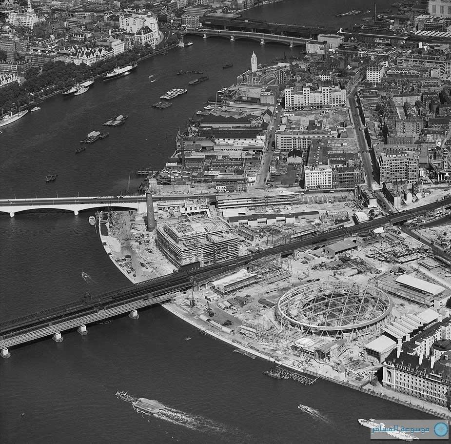 بريطانيا من السماء.. مهرجان بريطانيا، موقع جنوب الضفة تحت الإنشاء، لندن، 14 أغسطس 1950