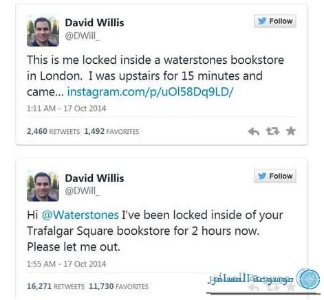 أعاد مستخدمو الموقعين الاجتماعين إرسال تغريدات سائح أمريكي شاهدها موظف بالمحل وقدم لإنقاذه بعد ساعات قضاها محاصرا بين الكتب