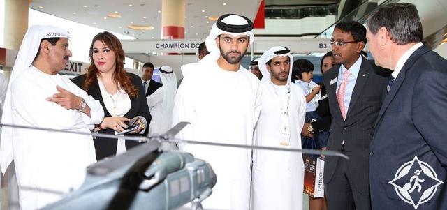 سمو الشيخ منصور بن محمد بن راشد آل مكتوم في معرض دبي للهليكوبتر 2014