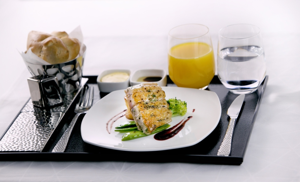 5. Contemporary table setting in Business Class