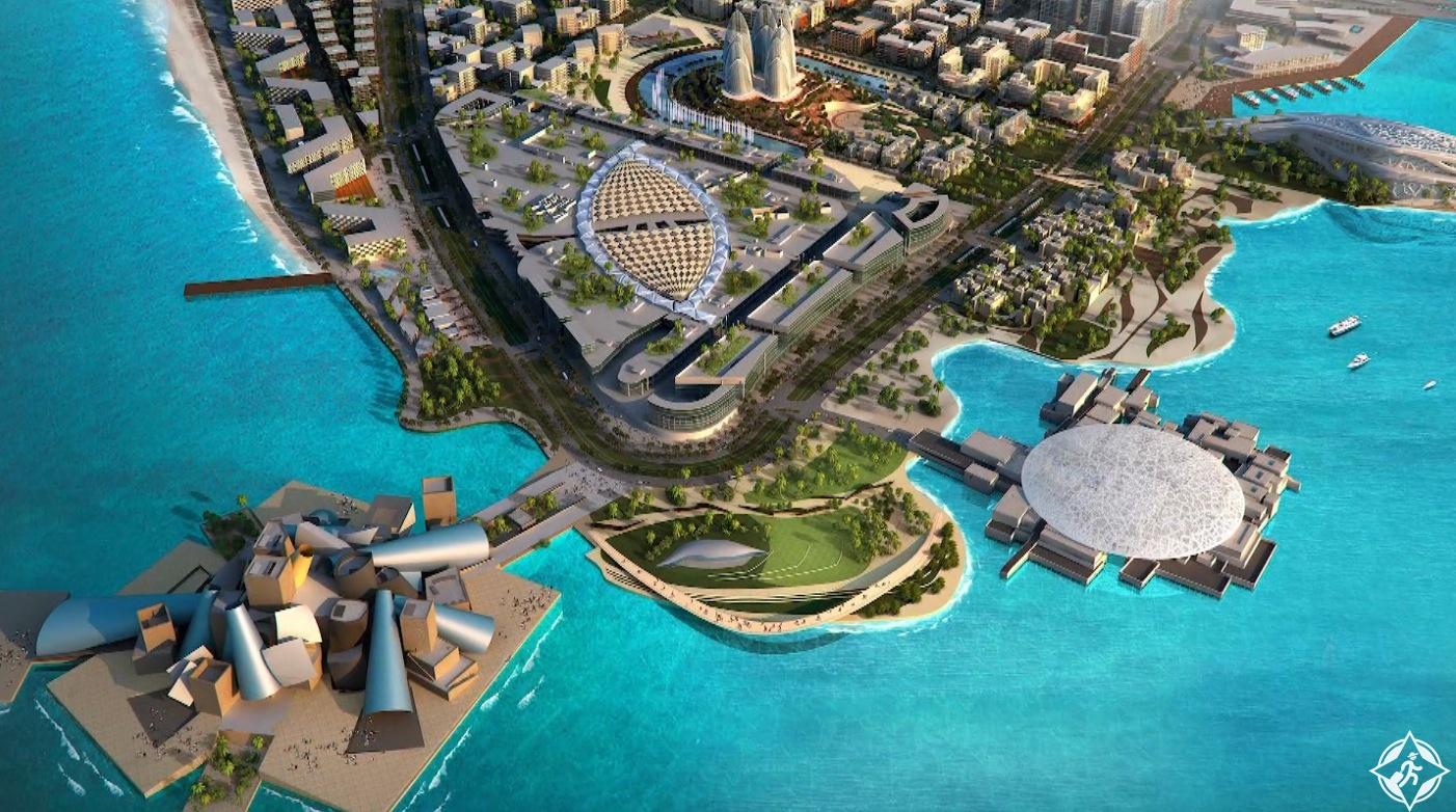 المخطط الرئيس لجزيرة السعديات سيتألف عند اكتماله من سبع مناطق