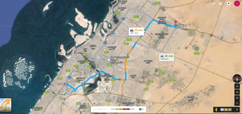 المسافة من دبي الى الشارقة