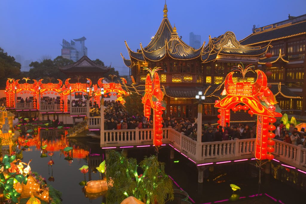 09 Feb 2009, Shanghai, China --- Night view of colorful lanterns at Chenghuang Temple Fair celebrating Lantern Festival during Chinese New Year. --- Image by © Keren Su/Corbis
