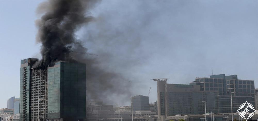حريق مبنى مجاور لفندق روتانا بيتش أبوظبي