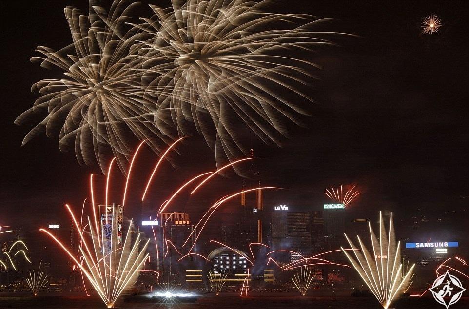 هونج كونج-ميناء فيكتوريا-احتفالات رأس السنة-العام الجديد