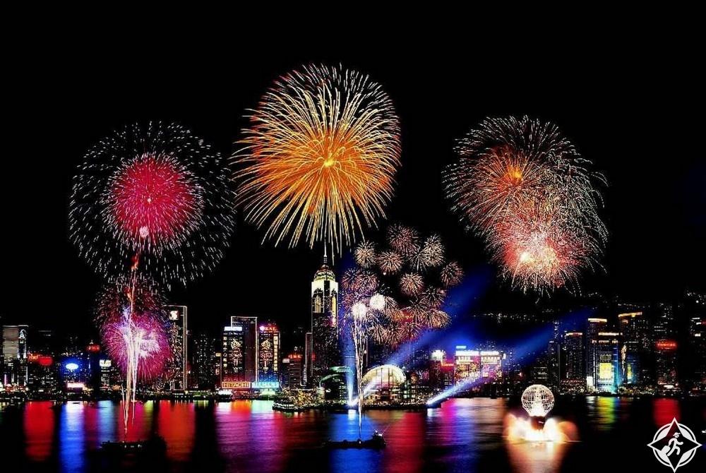 هونج كونج-ميناء فيكتوريا-احتفالات رأس السنة-رأس السنة 2017